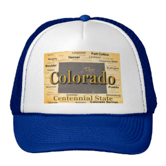 Aged Colorado State Pride Map Silhouette Trucker Hat