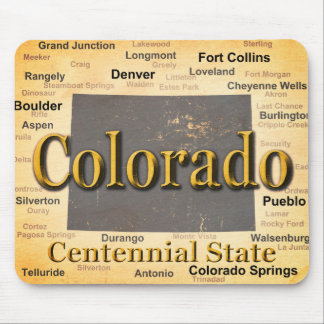 Aged Colorado State Pride Map Silhouette Mouse Pad