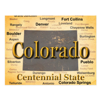 Aged Colorado State Pride Map Silhouette Post Card