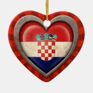 Aged Croatian Flag Heart with Light Rays Christmas Ornament