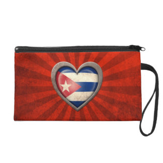 Aged Cuban Flag Heart with Light Rays Wristlets