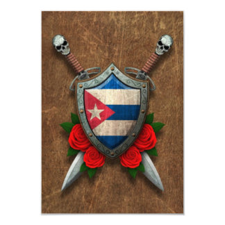 Aged Cuban Flag Shield and Swords with Roses Invitations