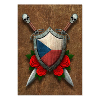Aged Czech Republic Flag Shield with Red Roses Pack Of Chubby Business Cards