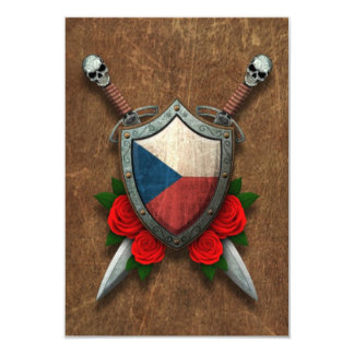 Aged Czech Republic Flag Shield with Red Roses Custom Announcements