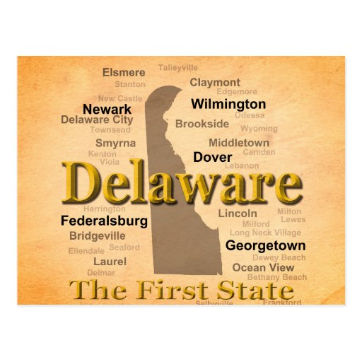 Aged Delaware State Pride Map Postcards