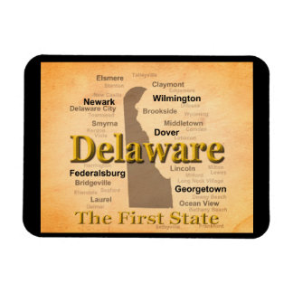 Aged Delaware State Pride Map Rectangle Magnet