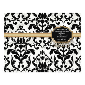 Aged Distressed Damask Golden Bling Look Wedding Flyers