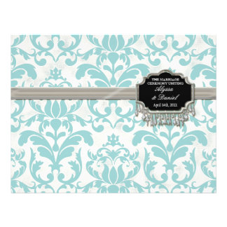 Aged Distressed Damask Silver Bling Look Wedding 21.5 Cm X 28 Cm Flyer