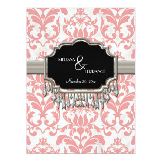 """Aged Distressed Damask Silver Bling Look Wedding 6.5"""" X 8.75"""" Invitation Card"""