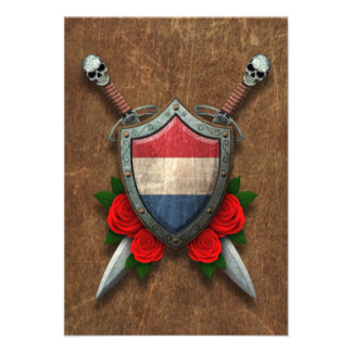 Aged Dutch Flag Shield and Swords with Roses Custom Invitations
