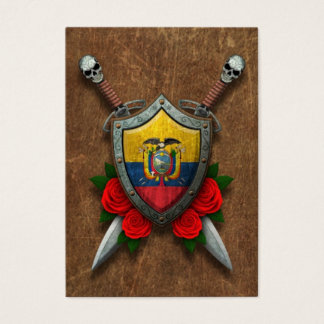 Aged Ecuadorian Flag Shield and Swords with Roses