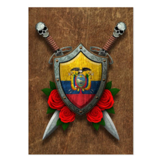 Aged Ecuadorian Flag Shield and Swords with Roses Pack Of Chubby Business Cards