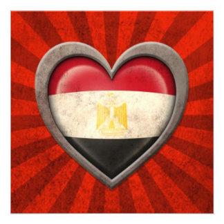 Aged Egyptian Flag Heart with Light Rays Custom Announcements