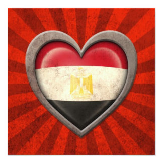Aged Egyptian Flag Heart with Light Rays 13 Cm X 13 Cm Square Invitation Card
