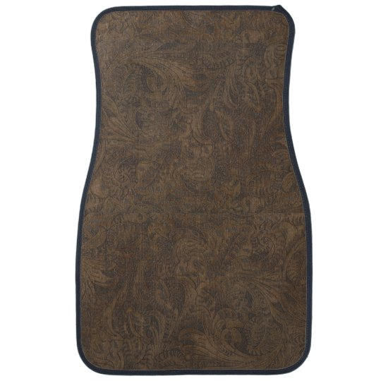 Aged Faux Tooled Leather Western-style Design 2 Floor