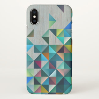 Aged Faux Wood With Modern Colorful Triangles iPhone X Case