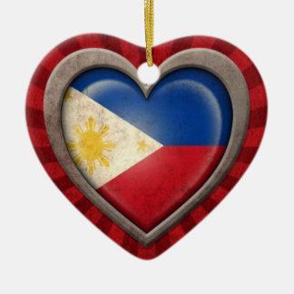 Aged Filipino Flag Heart with Light Rays Ceramic Heart Decoration