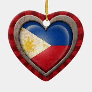 Aged Filipino Flag Heart with Light Rays Christmas Ornament