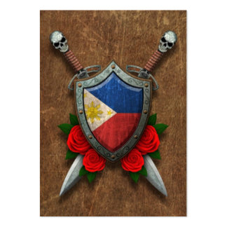 Aged Filipino Flag Shield and Swords with Roses Pack Of Chubby Business Cards