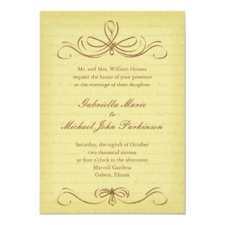Aged Flourish Brown Wedding Invitation