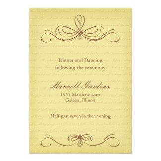 Aged Flourish Brown Wedding Reception Card
