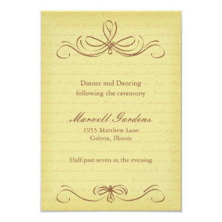 Aged Flourish Brown Wedding Reception Card Personalized Invitation