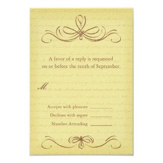 Aged Flourish Brown Wedding RSVP Card Custom Invites