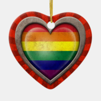 Aged Gay Pride Rainbow Flag Heart with Light Rays Christmas Ornament