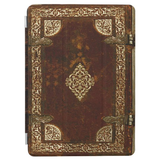 Aged Gilded Leather Lockable Book Cover iPad Air
