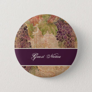 Aged Grape Vineyard Save the Date Postage 6 Cm Round Badge