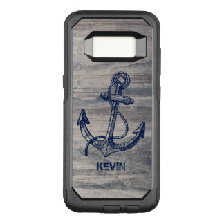 Aged Gray Wood Texture Midnight Blue Boat Anchor OtterBox Commuter Samsung Galaxy S8 Case