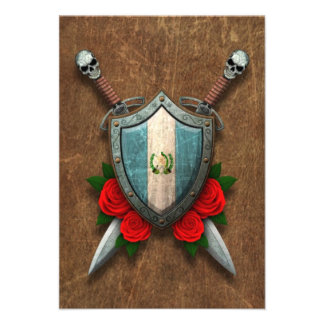 Aged Guatemala Flag Shield and Swords with Roses Custom Invitation