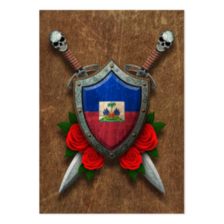 Aged Haitian Flag Shield and Swords with Roses Pack Of Chubby Business Cards