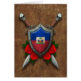 Aged Haitian Flag Shield and Swords with Roses Greeting Card