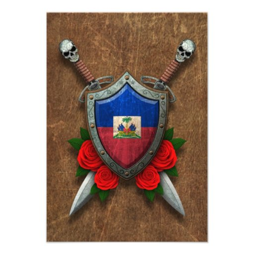 Aged Haitian Flag Shield and Swords with Roses Custom Announcement