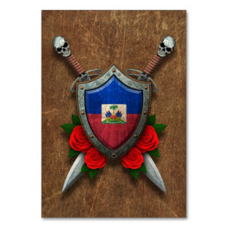 Aged Haitian Flag Shield and Swords with Roses Table Cards