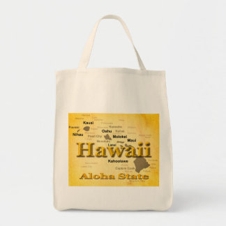 Aged Hawaii State Pride Map Silhouette Tote Bags