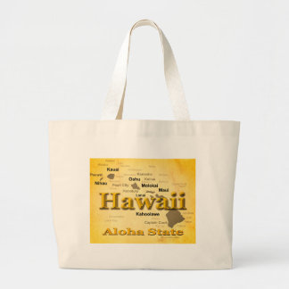Aged Hawaii State Pride Map Silhouette Bags