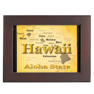 Aged Hawaii State Pride Map Silhouette Keepsake Box