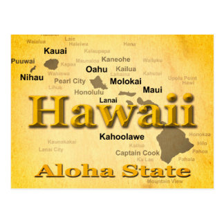 Aged Hawaii State Pride Map Silhouette Postcard