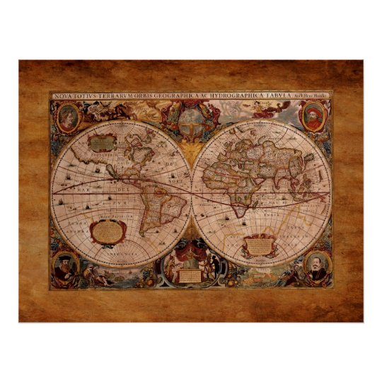 Aged Henricus Hondius' 1630 AD Old World Map