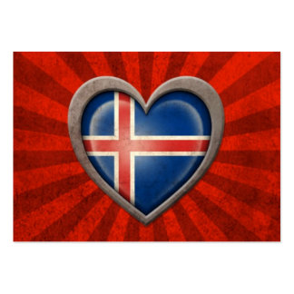 Aged Icelandic Flag Heart with Light Rays Large Business Cards (Pack Of 100)
