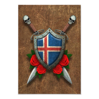 Aged Icelandic Flag Shield and Swords with Roses Announcement