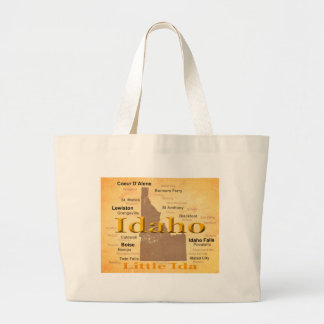 Aged Idaho State Pride Map Silhouette Canvas Bags