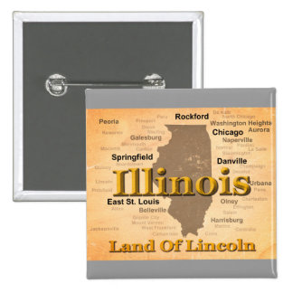 Aged Illinois State Pride Map Silhouette Pinback Buttons