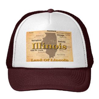 Aged Illinois State Pride Map Silhouette Cap