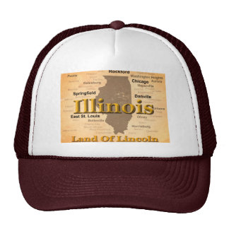 Aged Illinois State Pride Map Silhouette Mesh Hats