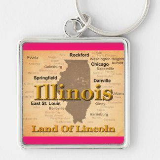 Aged Illinois State Pride Map Silhouette Keychains