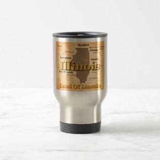 Aged Illinois State Pride Map Silhouette Coffee Mug