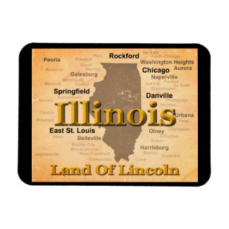 Aged Illinois State Pride Map Silhouette Vinyl Magnets